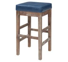 Valencia Bonded Leather Counter Stool Drift Wood Legs, Vintage Blue/108627B-V05