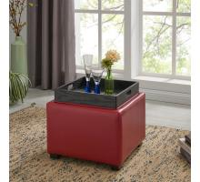 Cameron Square Leather Ottoman Storage w/ tray, Red/113042-67