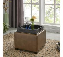 Cameron Square Bonded Leather Storage Ottoman w/ tray,  Molasses***CLOSEOUT***/113042B-013