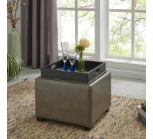 Cameron Square Bonded Leather Storage Ottoman w/tray,  Quarry/113042B-017