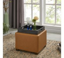Cameron Square Bonded Leather Storage Ottoman w/ tray, Vintage Caramel/113042B-V07
