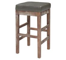 Valencia Bonded Leather Counter Stool Drift Wood Legs, Vintage Gray/108627B-V04
