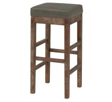 Valencia Bonded Leather Bar Stool Drift Wood Legs, Vintage Gray***CLOSEOUT***/108631B-V04