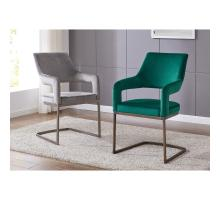 Raquel KD Velvet Fabric Chair Rubbed Gold Legs, Jade Green *NEW*/1060010-362