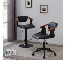 Darwin KD PU Bamboo Office Chair, Black/Walnut/1160015-BWL
