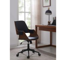 Warren KD PU Office Chair, Black/Walnut/1160018-BWL