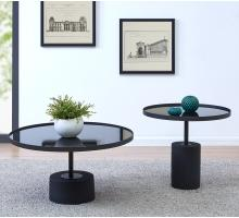 Samara KD End Table Glass Top with Black Concrete Base, Mirror Black *NEW*/1150006