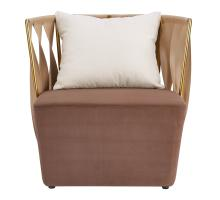 Aurora Recycled Leather and Fabric Chair with Pillow, Sherpa Dark Brown/ City Dune/1240002-3555