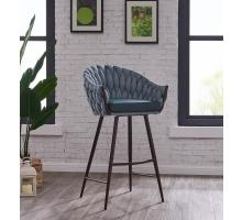 Fabian KD Fabric/ PU Bar Stool, Alpine Light Blue/ Fairfax Green/1240003-3557