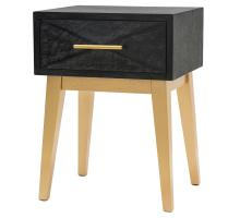 Leonardo KD End Table 1 Drawer Gold Legs, Black Wash/1270001