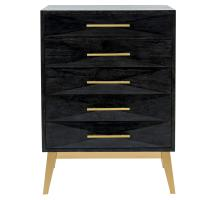Leonardo KD Cabinet 5 Drawers Gold Legs, Black Wash***CLOSEOUT***/1270005