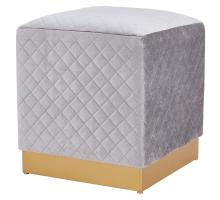 Dante Velvet Fabric Square Ottoman, Serene Light Gray/ Gold *NEW*/1600039-351