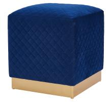 Dante Velvet Fabric Square Ottoman, Serene Dark Blue/ Gold *NEW*/1600040-312