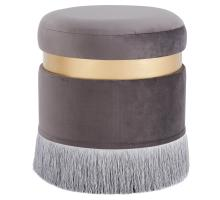 Suri Velvet Fabric Fringe Round Storage Ottoman, Serene Dark Gray/ Gold *NEW*/1600041-313