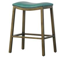 Elmo KD Bonded Leather Metal Counter Stool, Turquoise *NEW*/3900050-323