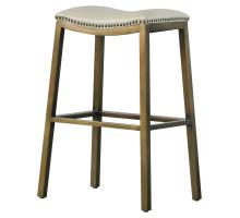 Elmo KD Bonded Leather Metal Bar Stool, Beige *NEW*/3900051-2050