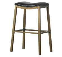 Elmo KD Bonded Leather Metal Bar Stool, Black *NEW*/3900051-23