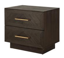 Wellington Herringbone Night Stand/Side Table 2 Drawers, Thames Dark Brown *NEW*/1220006