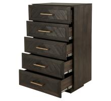 Wellington Herringbone Chest  5 Drawers, Thames Dark Brown/1220008