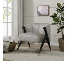Florence Fabric Accent Chair Black w/ Gold Tip Metal Legs, Pearl Gray/1250001-366