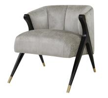 Florence Fabric Accent Chair Black w/ Gold Tip Metal Legs, Pearl Gray *NEW*/1250001-366