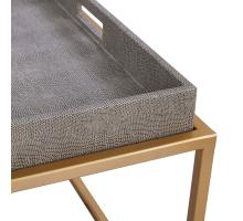 Feyre Faux Shagreen Removable Tray Coffee Table, Chronicle Gray/1600046