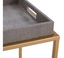 Feyre Faux Shagreen Removable Tray End Table, Chronicle Gray/1600047