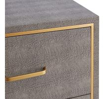 Edinburgh Faux Shagreen Cabinet 4 drawers, Chronicle Gray/ Gold *NEW*/1600048