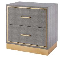 Edinburgh Faux Shagreen End table 2 drawers, Chronicle Gray/ Gold/1600049