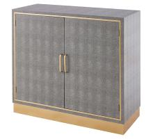 Edinburgh Faux Shagreen Cabinet 2 doors, Chronicle Gray/ Gold/1600050