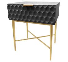 Reggie Geometric End Table 1 Drawer Gold Legs, Glossy Black *NEW*/2100055-GB