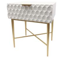 Reggie Geometric End Table 1 Drawer Gold Legs, Glossy White *NEW*/2100055-GW
