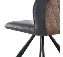 Teagan KD PU/ Fabric Dining Chair, Centro Black/ Autumn Brown/3000025-3450