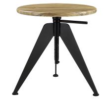 Cody Adjustable End Table Metalic Gunmetal Base, Natural/9300057