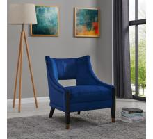 Eugene Velvet Fabric Accent Chair w/ Gold Tip Legs, Dulce Blue/9900036-333