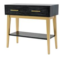 Leonardo KD Console Table 2 Drawers Gold Legs, Black Wash *NEW*/1270002