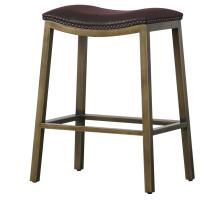 Elmo KD Bonded Leather Metal Counter Stool, Brown *NEW*/3900050-01