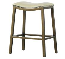 Elmo KD Bonded Leather Metal Counter Stool, Beige *NEW*/3900050-2050