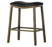 Elmo KD Bonded Leather Metal Counter Stool, Black *NEW*/3900050-23