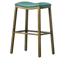 Elmo KD Bonded Leather Metal Bar Stool, Turquoise/3900051-323