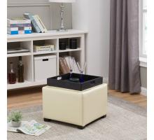 Cameron Square Leather Storage Ottoman w/ tray, Beige/113042-2050
