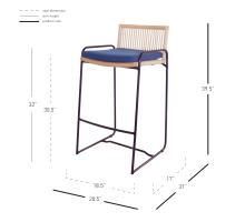 Virza Rattan Bar Stool, Deep Blue***CLOSEOUT***/1080003