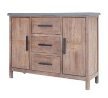Venezio Sideboard 3 Drawers + 2 Doors  w/ Faux Cement Top, Rustic Brown/2100017