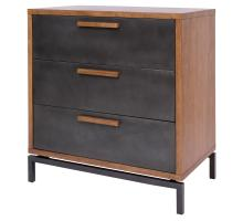 Bellevue KD Chest 3 Drawers Graphite Metal Legs, Graphite/ Natural/7800044