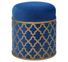 Taj Velvet Fabric Round Storage Ottoman, Serene Dark Blue/Gold *NEW*/1600056-312