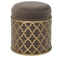 Taj Velvet Fabric Round Storage Ottoman, Serene Dark Gray/Gold *NEW*/1600056-313