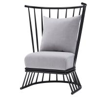 Jupiter KD Velvet Fabric Metal Accent Chair, Gallery Gray/9300053-514