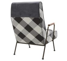 Kahlo KD Fabric Accent Chair, Mono Gingham/ Vintage Midnight/9900057-51MN