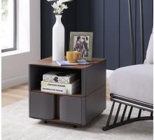 Marcus End Table w/ Storage, Walnut/Dark Gray***CLOSEOUT***/1030022