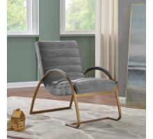 Liam Fabric Accent Chair Antique Gold Frame, Grunge Light Gray/1250006-394